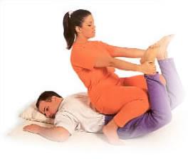 Gina Mercati doing a Thai Massage Manipulation